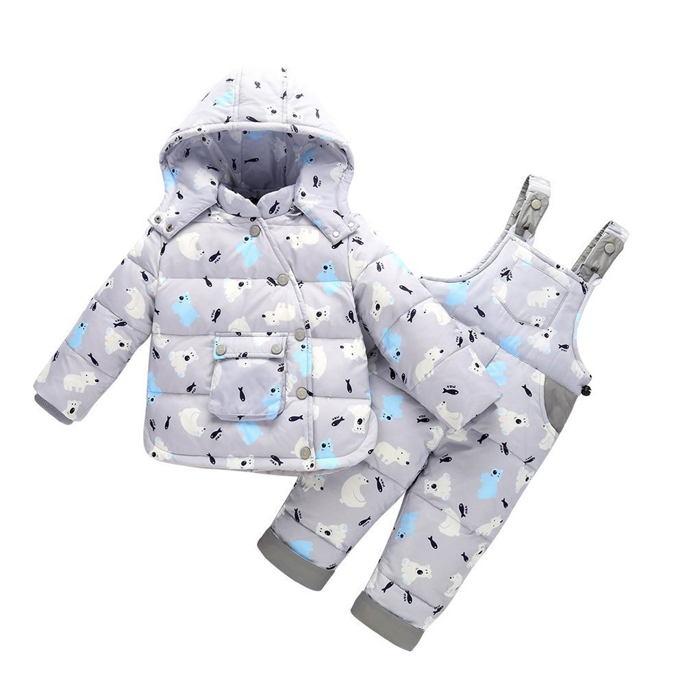 CADong Unisex Baby Toddler Winter Snowsuit Cartoon Ski Snowpants Down Coat Hooded Puffer Jacket 2 Piece Set Outfit