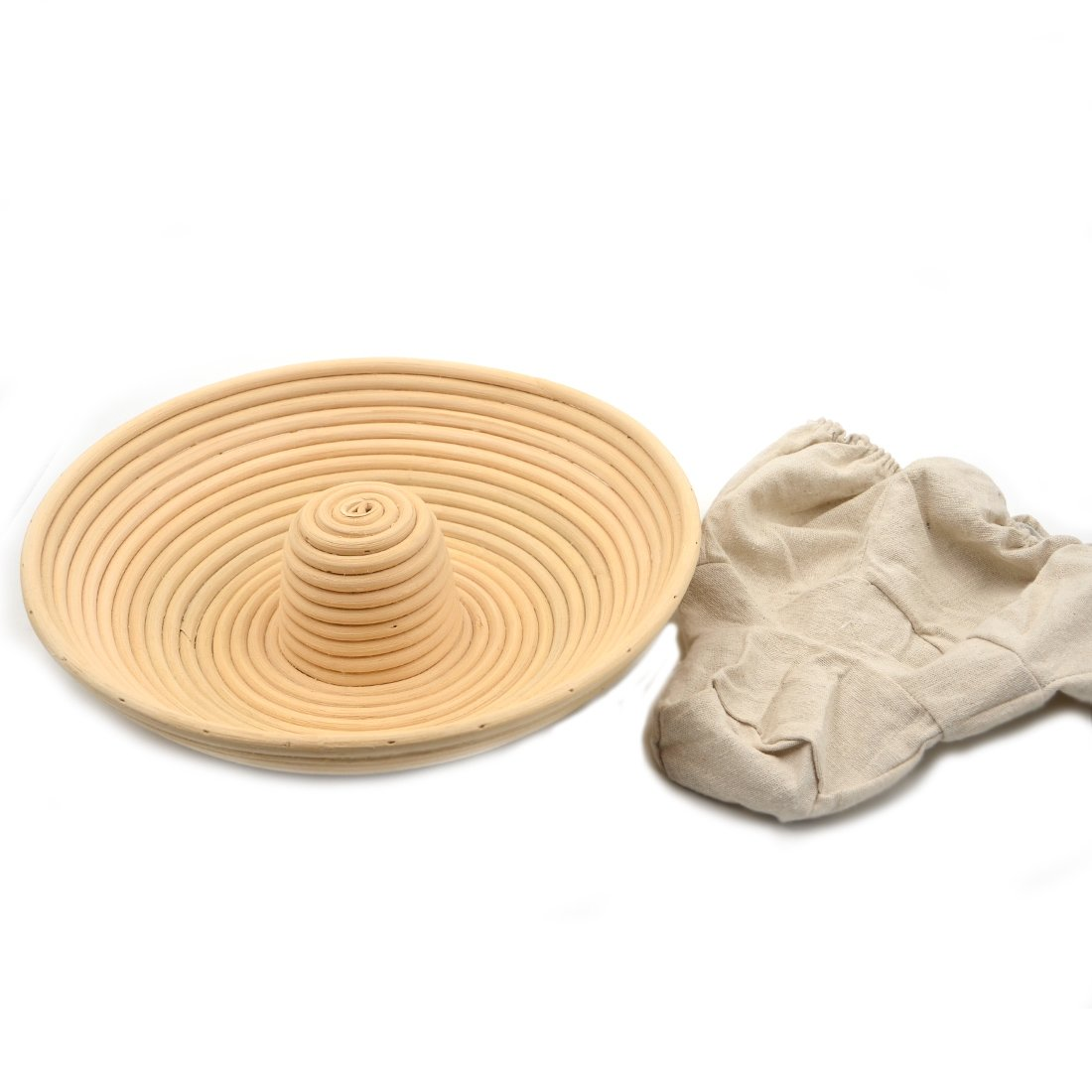Round Banneton Brotform Bread Proofing Rattan Basket Handmade Cloth Liner AngelaKerry 1pcs 13x6cm 5 Diameter
