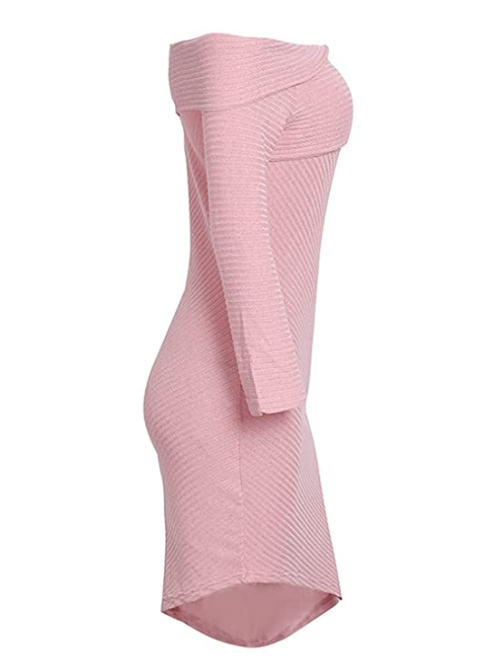 Rela Bota Womens Sexy Off Shoulder Asymmetric Hem Bodycon Knit Party Sweater Dress at Amazon Womens Clothing store: