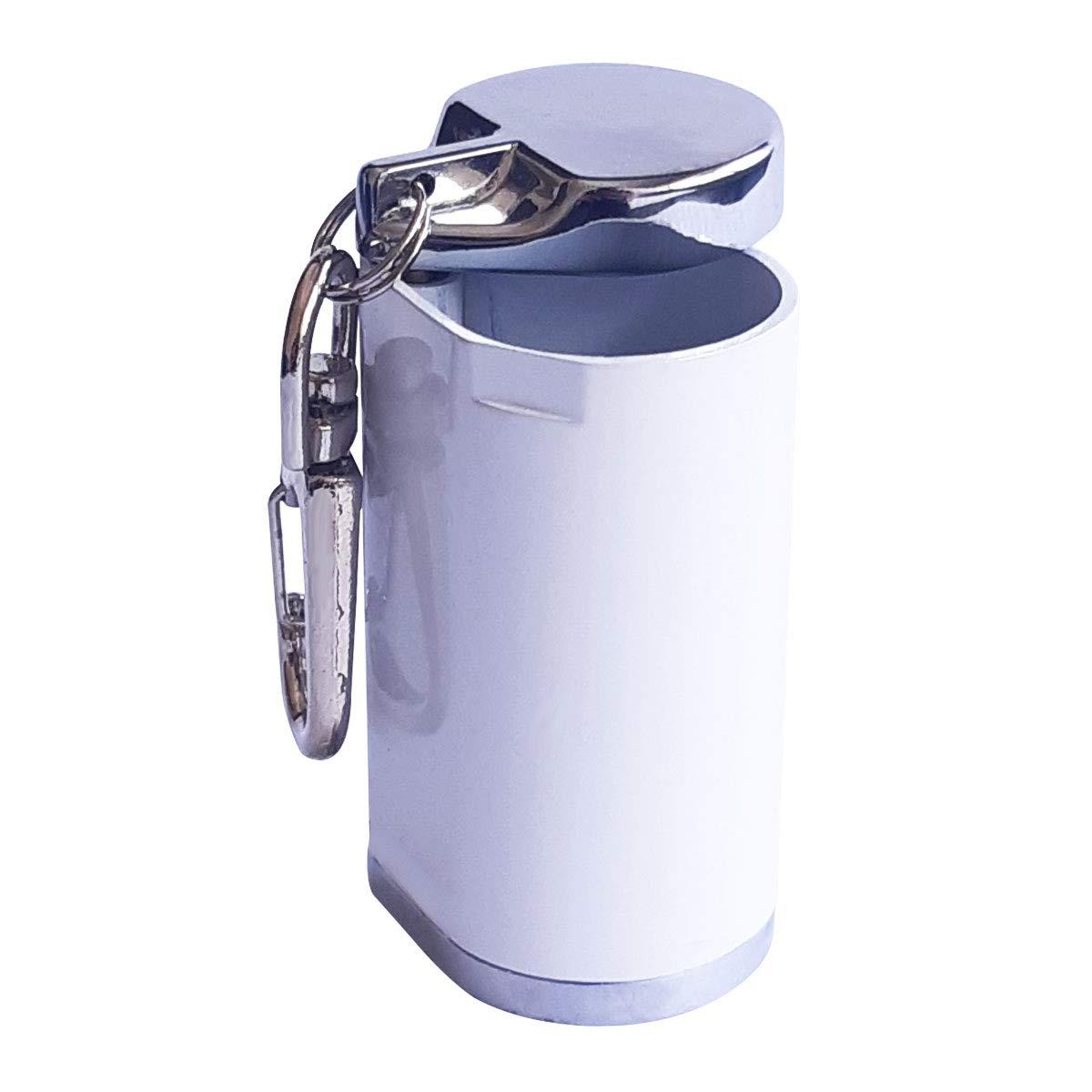Cendrier de Poche Anti Odeur Aluminium Blanc laqu/é avec Mousqueton