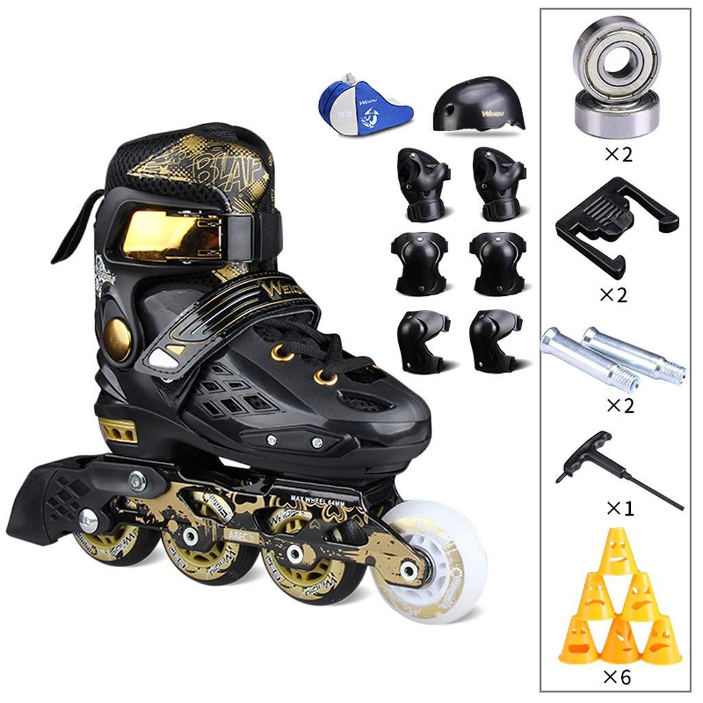 TKW インラインスケート、プロの男性と女性の調節可能なスケート大人単一行ローラースケートセット、白と黒 (Color : C, Size : L EU37-41) C L EU37-41