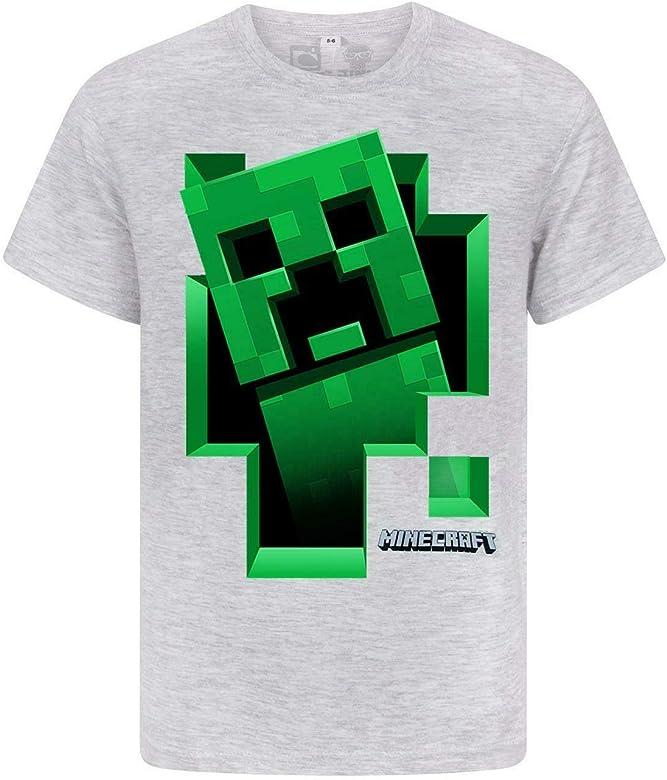 Minecraft Niños Gris Mojang Superior Camiseta Verde de la Enredadera Boy: Amazon.es: Ropa y accesorios