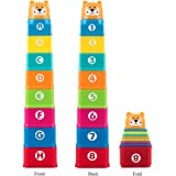 Kidcia My First Square Nesting & Stacking Cups with Numbers Letters & Animals for Toddlers Early Educational Stacker Toys for Kids, 1 Set
