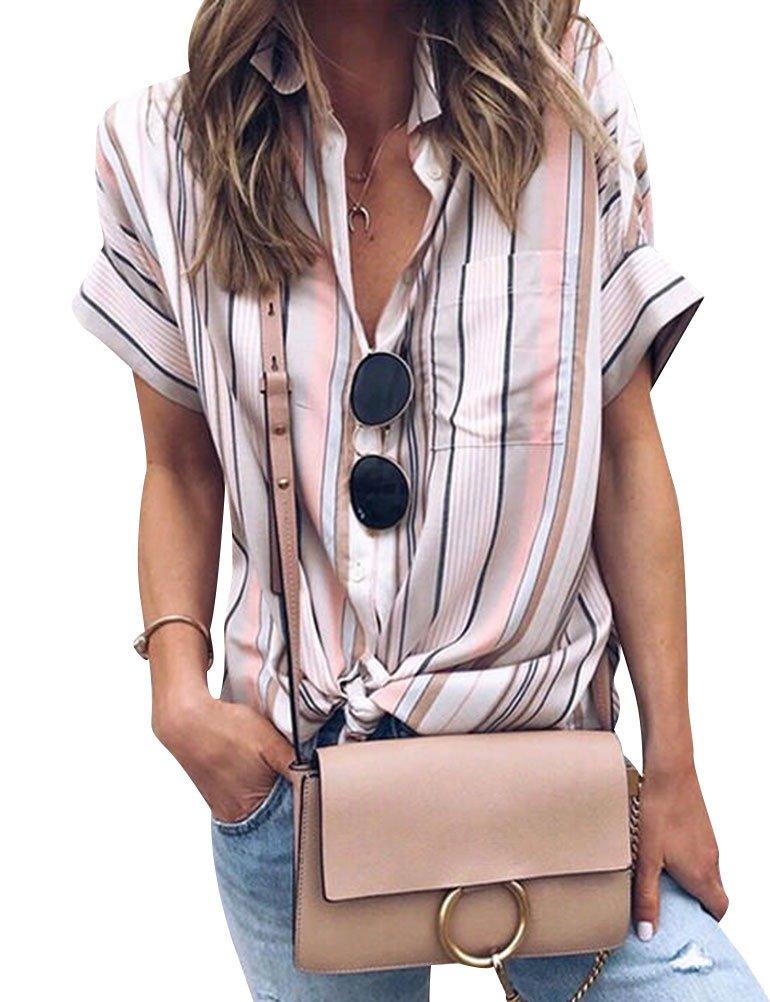 Ezcosplay Women Colorblock Stripe Short Sleeve Button Down Tops Blouses Shirt