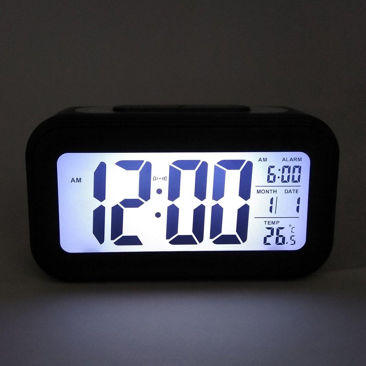 COOJA Reloj Despertador Digital con Sonido Fuerte, Alarma Despertador a Pilas con Numeros Grandes Snooze Luz Temperatura 12/24H, Despertadores de ...