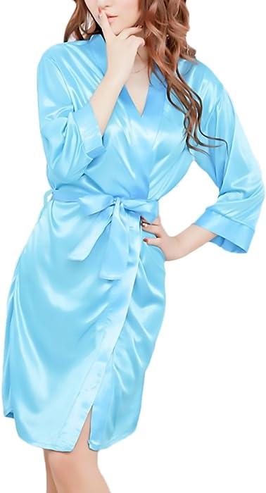 Kimono Mujer Batas Elegantes Satén Cortos Pijama Cómodos Suave Albornoz Lenceria V Cuello Con Cinturón Ropa