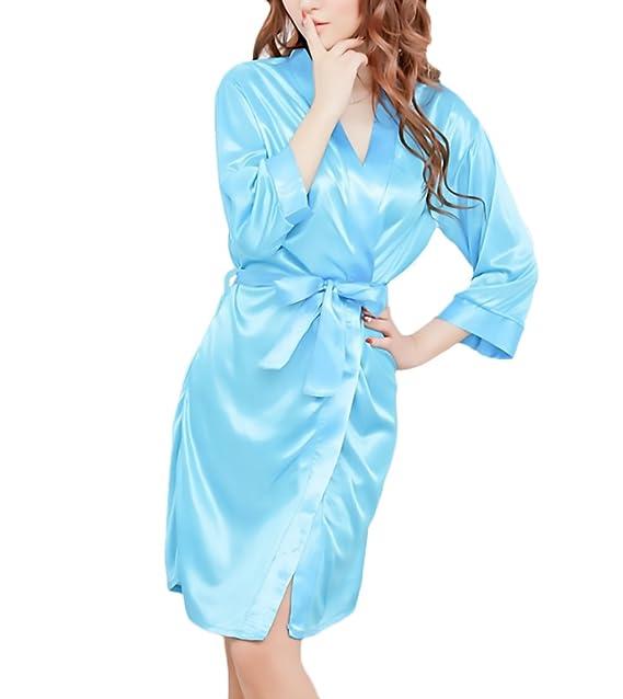 Kimono Mujer Batas Elegantes Satén Cortos Pijama Cómodos Suave Albornoz Lenceria Ropa Dama Moda Fashionista Con Cinturón V Cuello: Amazon.es: Ropa y ...