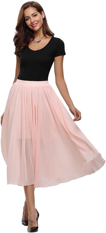 Abollria Jupe Longue Femme Bohème Fleuri Élastique Fluide En Tull Plissée Imprimé Floral Évasée Été Mousseline De Soie Grande Taille Flamenco Boho Plage Dress Casual Rose 2
