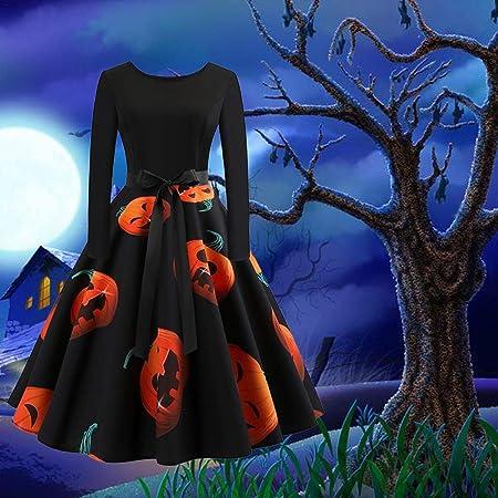 Overdose Vestidos De Halloween De Manga Larga De Las Mujeres del Oto/ñO Invierno Falda De Cuello Redondo De Impresi/óN De La Vendimia Calabazas Vestido Elegante Vestido De Fiesta