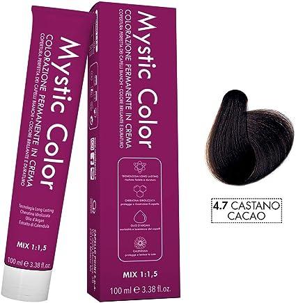 Mystic Color - Coloración Permanente en Crema con Aceite de Argán y Caléndula - Color Natural y Duradero - Tono 4.7 Castaño Cacao - 100 ml