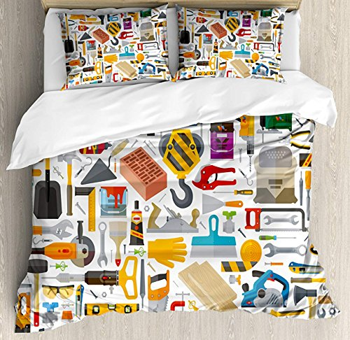 (Construction Duvet Cover Set Queen Size, Construction Tools in Cartoon Style Engineering Fixing Repairing Building, Decorative 3 Piece Bedding Set with 2 Pillow Shams, Multicolor)