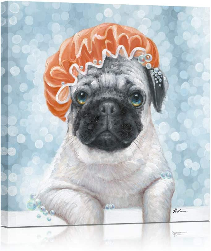 B BLINGBLING Dog Bathroom Wall Decor on Canvas Art, Funny Pug in Shower Cap Enjoying Bubble Bath, Animal Prints Poster for Bedroom Decorations Framed Picture 12