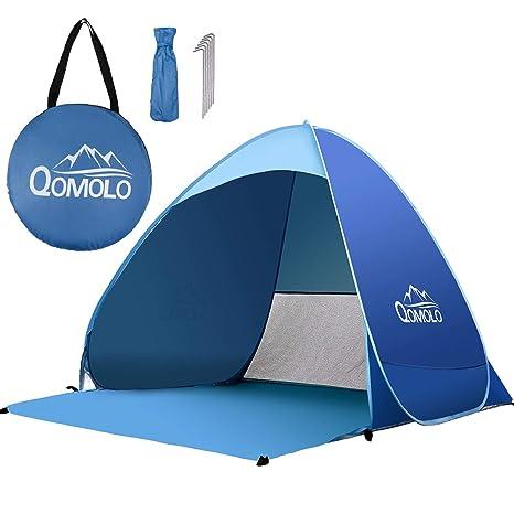 Pop Up portátil Aire Libre Portátil Familiar Playa 3-4 Personas Tienda Quick Cabana Sol Protección UV Refugio UPF 50+ Mobiliario y materiales para educación temprana Tiendas de campaña