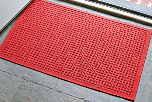 WaterHog Fashion Commercial-Grade Entrance Mat, Indoor/Outdoor Charcoal Floor Mat 3' Length x 2' Width, Solid Red by M+A Matting (Mat Red Front Door)