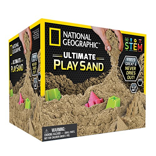 National Geographic Play Sand - 6 LBS of Sand with Castle Molds (Natural) - A Kinetic Sensory - Bucket 6 Lb