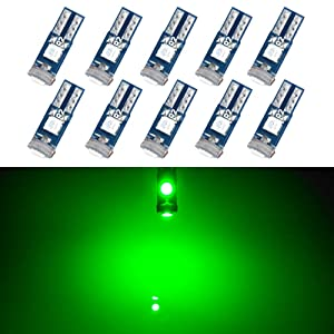 T5 LED Bulb Dashboard Dash Lights Green 3030 SMD Wedge Base for Car Truck Instrument Indicator Air Conditioning AC Lamp Auto Interior Accessories Kit Bright 12V 1W 1 Year Warranty Pack of 10【1797】