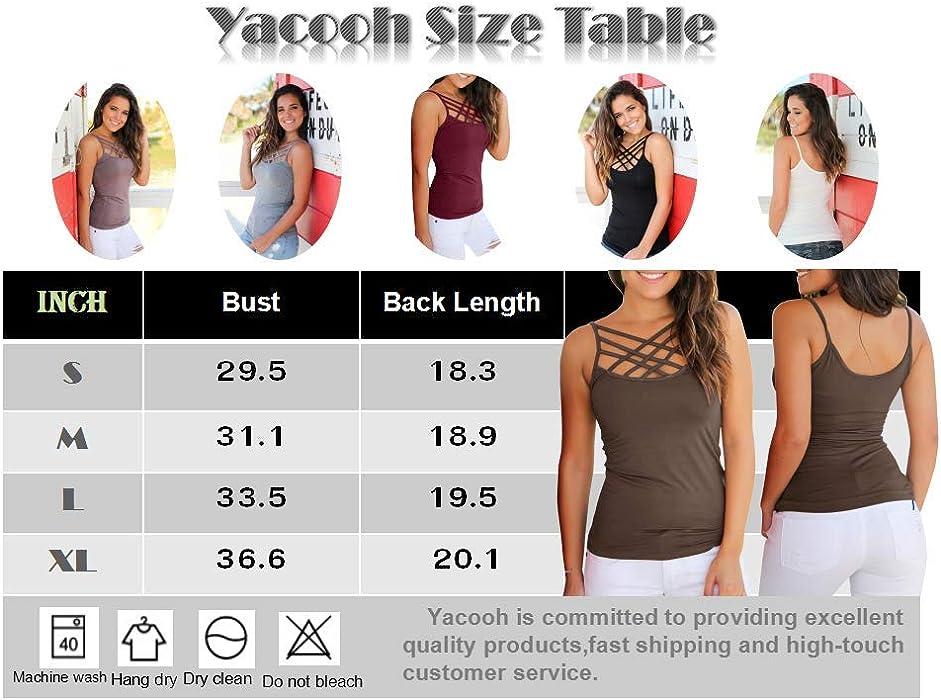 de101f4c914dd Yacooh Womens Tank Tops Cute Criss Cross Spaghetti Strap Sleeveless  Camisole Shirts. Back. Double-tap to zoom