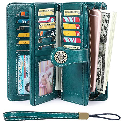 Women's Wallets, Large Capacity with RFID Protection, Genuine Leather, Peacock Blue