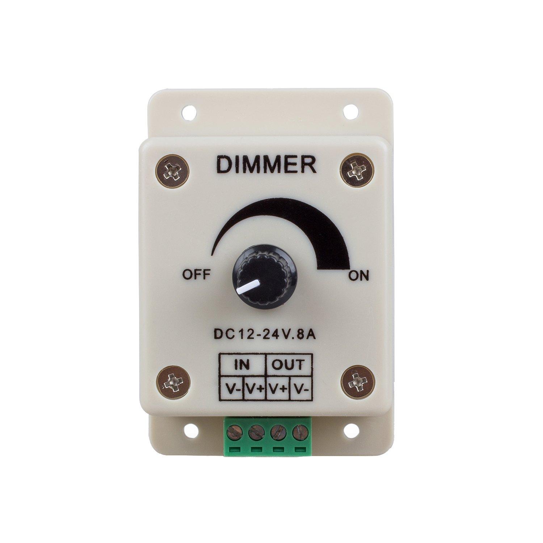 Sodial (R) - PWM Dimmer controlador para luces de LED, lazo o tira, 12 - 24 V, 8 A, interruptores eléctricos, regulador de luz para la casa, tienda, ...