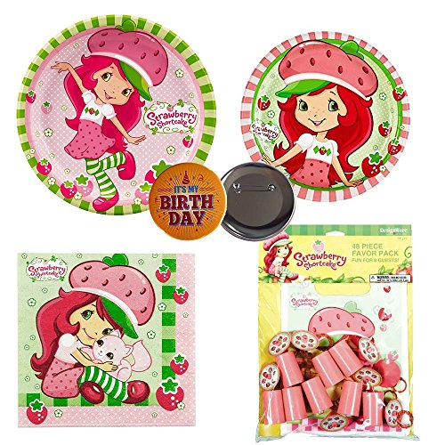 Strawberry Shortcake Lunch Napkins (Strawberry Shortcake birthday Party Supplies - 8 guests - large and small plates, napkins, party favors)