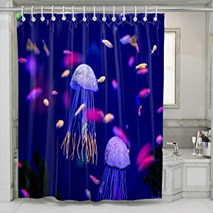 UNFRIY Shower Room Durable Polyester Fabric Underwater World Jellyfish Fish Aquarium 60W x72L Washable Shower Curtains for Bathroom Decorative (Hooks Included)