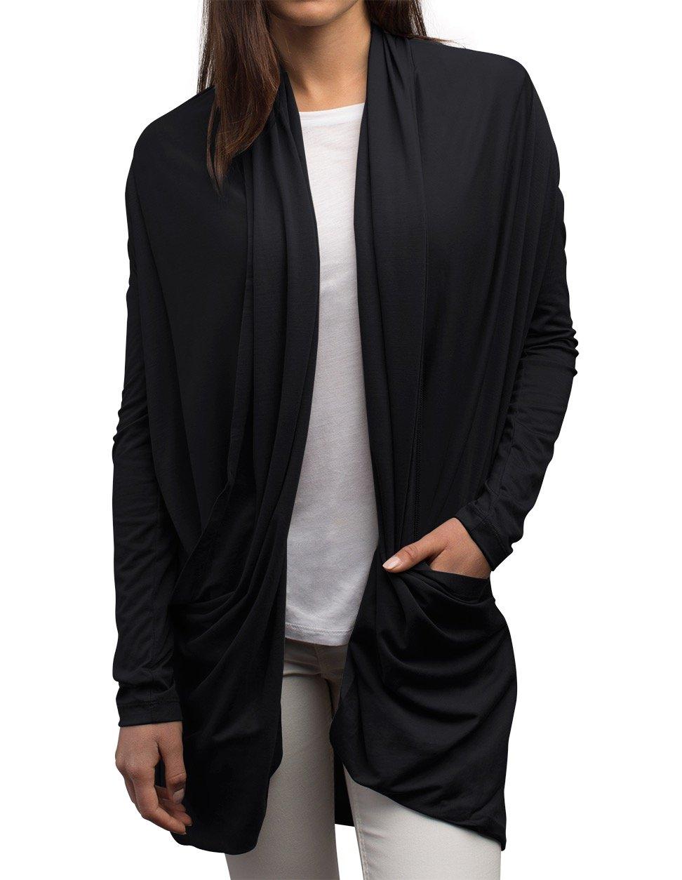 SCOTTeVEST Madeline Cardigan - 4 Pockets - Travel Clothing, Sweater BLK 2XL