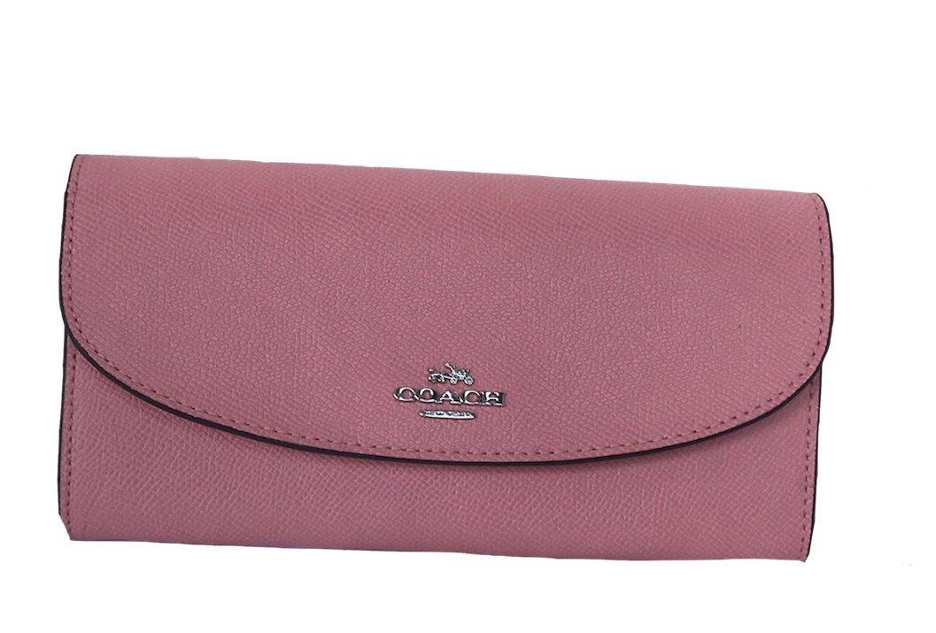 Coach Womens Crossgrain Leather Slim Envelope Wallet Red F54009 IMDN8 (Blush)