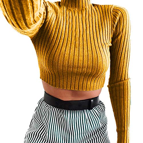 (Sunhusing Women's Knit Pleated Turtleneck Short Crop Top Casual Long Sleeve Sweatshirt)