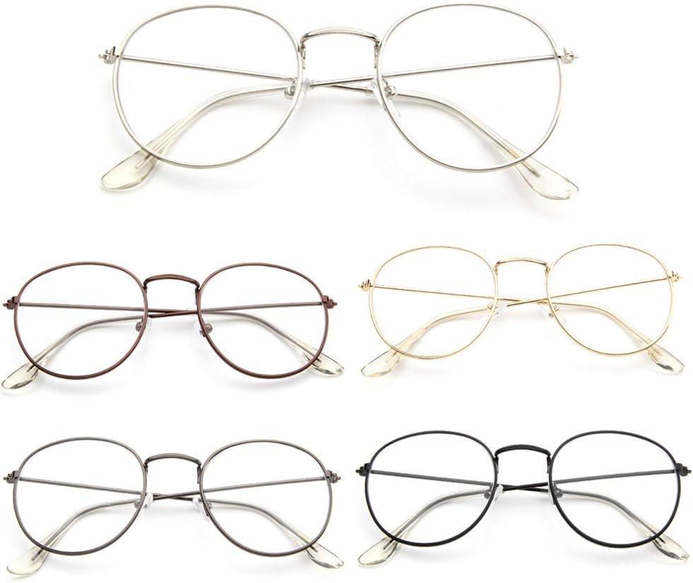 Rawuin 1PCS vintage uomini donne degli occhiali telaio in metallo rotondo occhiali lenti trasparenti ottico S # 007