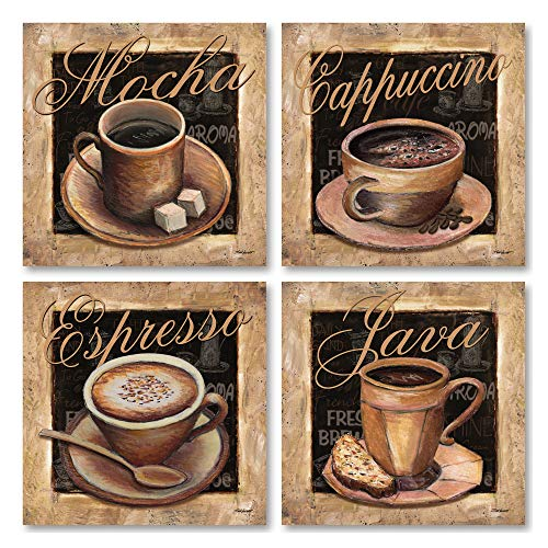 - Gango Home Decor Lovely, Classic Coffee Cups; Mocha, Cappacino, Espresso, and Java Signs; Four 12 x 12 Poster Prints
