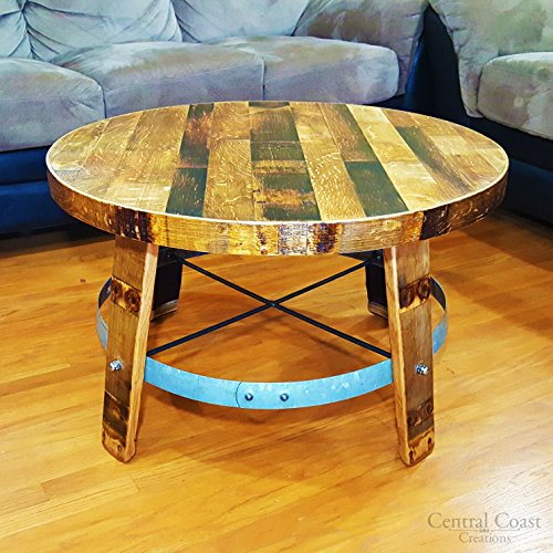 Wine Barrel Head Center Coffee Table - Wine Barrel Handcrafted - Central Coast Creations - Wine Barrel Furniture