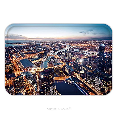 Indian Costume Melbourne (Flannel Microfiber Non-slip Rubber Backing Soft Absorbent Doormat Mat Rug Carpet A View Of Melbourne At Night Victoria Australia 164022383 for Indoor/Outdoor/Bathroom/Kitchen/Workstations)
