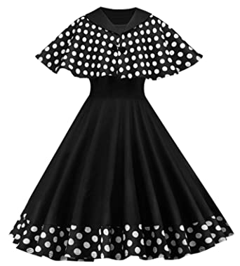 YldvAm Autumn Cloak Sleeve Pin Up Retro Elegant Dot Dress