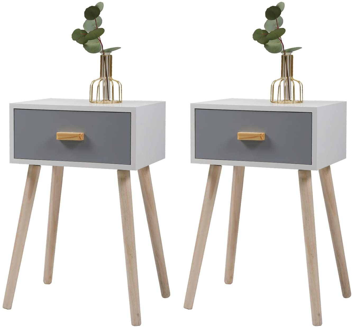 JAXPETY Set of 2 Nightstand w/Storage Drawer and Solid Wood Legs, Mid-Century Bedside Table for Bedroom Living Room Home Furniture, White + Silver Blue Pearl
