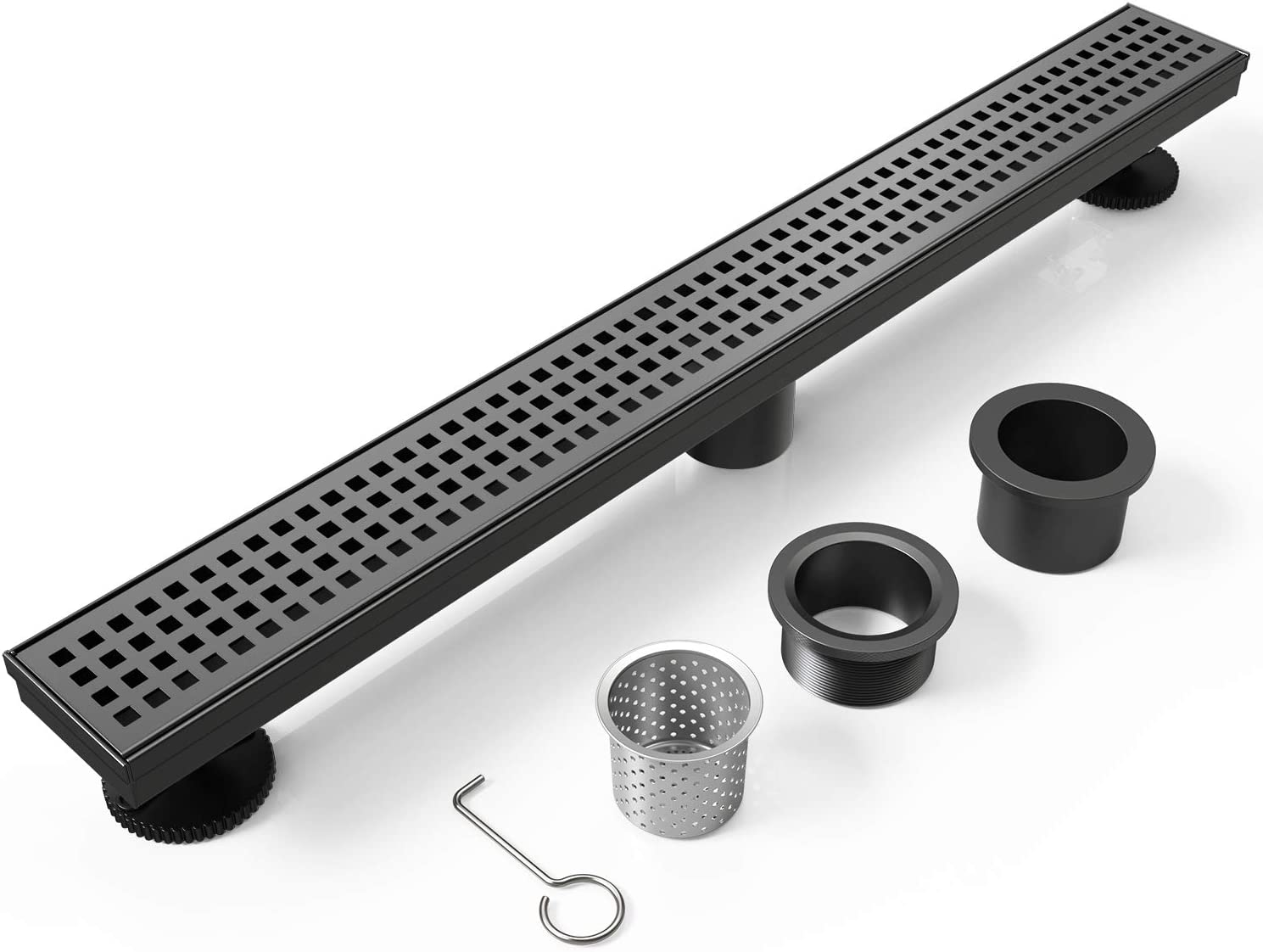 WEBANG 24 Inch Rectangular Linear Shower Floor Drain With Accessories,Quadrato Pattern Grate Removable,Food-grade SUS 304 Stainless Steel,WATERMARK&CUPC Certified,Matte Black