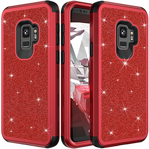 Galaxy S9 Plus Protective Case,Auker Heavy Duty Dual Layer Bling Glitter Shockproof [Hard PC+Soft Silicon] Military Grade Full Body Drop Protection Sparkly Case for Women Samsung S9 Plus (Red)