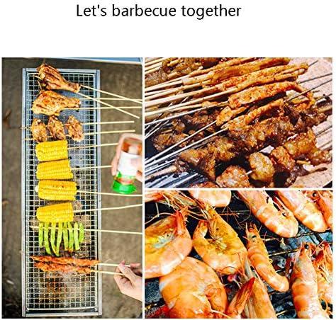 Grill Barbecue Portable Pliable Grill Charbon Pique-Nique De Cuisson Démontable pour BBQ Extérieur Camping Ensemble De 10 Pièces (58 * 20 * 36Cm)
