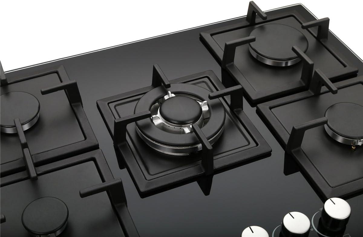 K&H Placas de cristal templado 70cm con 5 Quemador de gas 5Z-KHG: Amazon.es: Grandes electrodomésticos