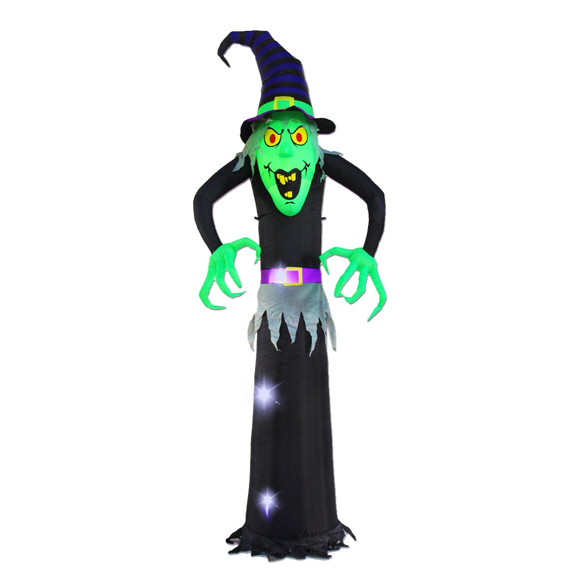 8Ft Inflatable Halloween Witch Decoration Black Ghost Inflatables Decorations for Home Yard Lawn Garden Party Indoor Outdoor Inslife