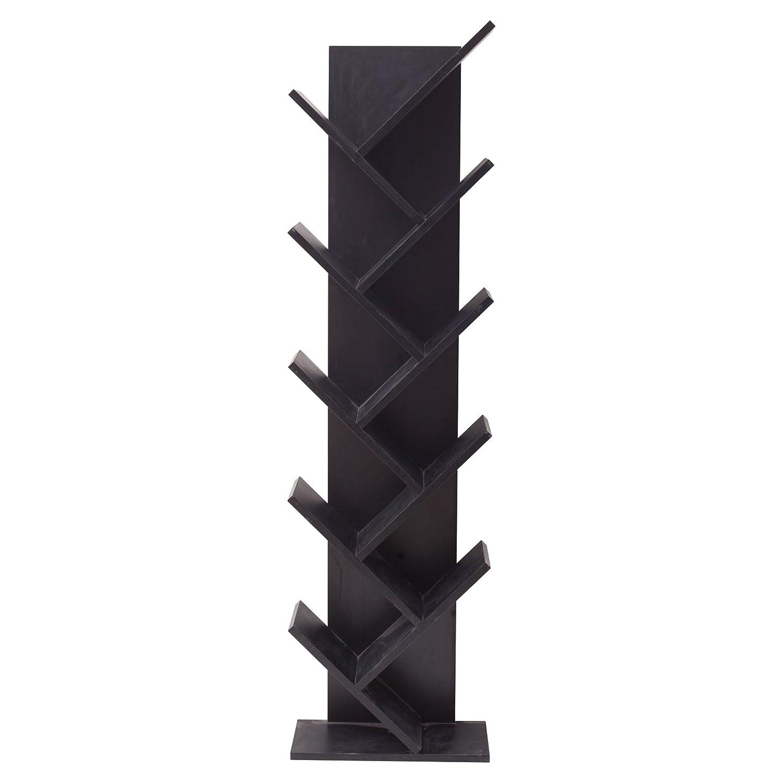 Rebecca Mobili Wohnzimmerregal Schwarz, Standregal modernes Design, 10 Ablagen, Holz MDF, Schalfzimmer Wohnzimmer – Maße: 160 x 44,5 x 22 cm (HxLxB) - Art. RE4654