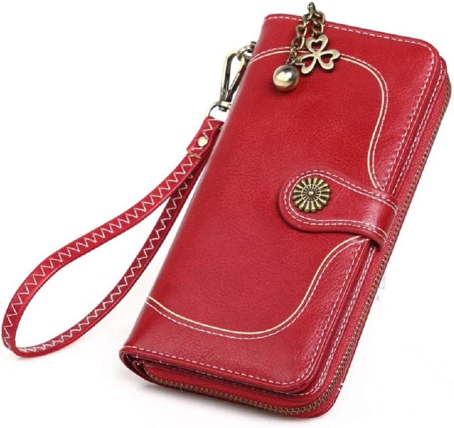 Urmiss Womens Large Capacity Vintage Luxury Soft Wax Leather Sunflower Wristlet Wallet Clutch Purse Cell Phone Case