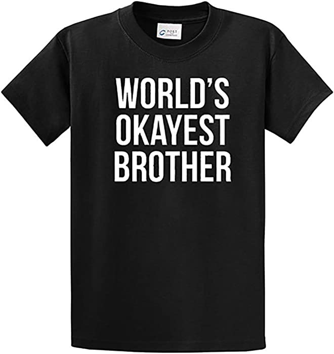 0a86bcba Amazon.com: World's Okayest Brother T-Shirt (Small, Black): Clothing