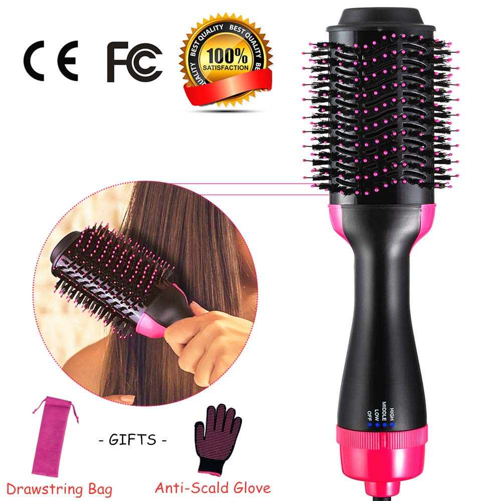 3 in 1 Hair Dryer Volumizer, One Step Negative Ion Curler Hair Straightener, Hot Air Brush Comb Professional Anti-Scald with Rose Red Drawstring Bags Gloves