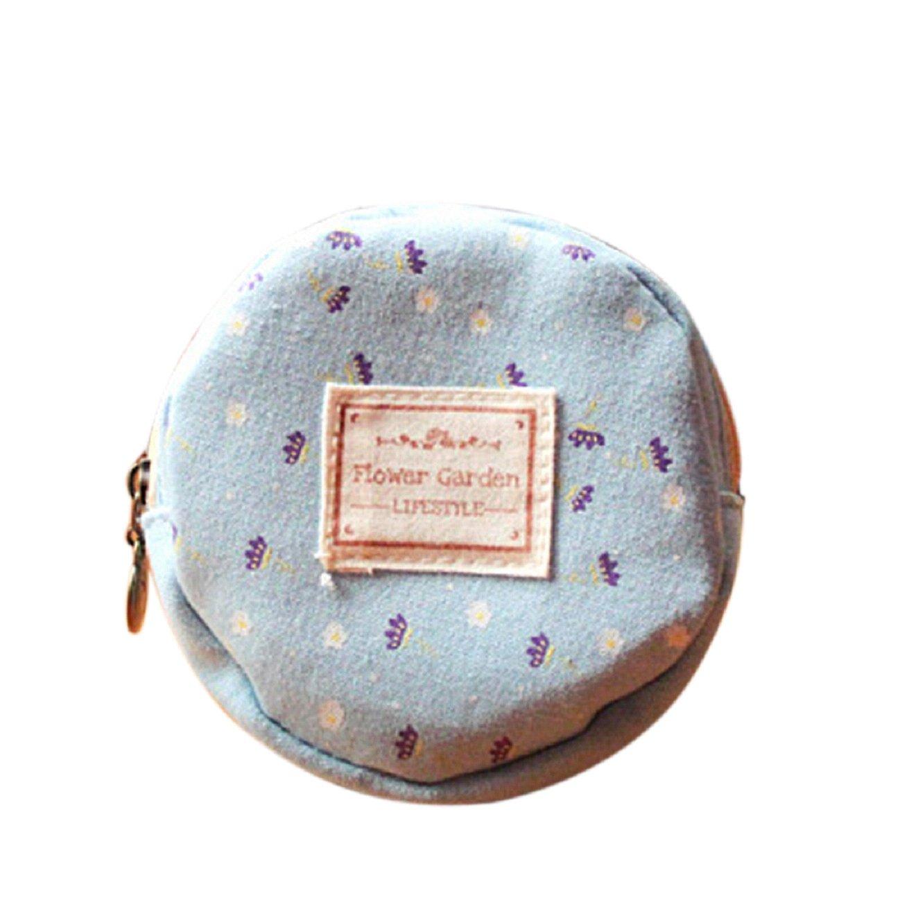 Tonsee Floral Fabric Circular Zipper Coin Purse Wallets (Blue)