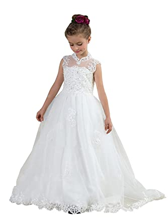 Amazon.com  Flower Girls Princess Sleeveless Long Pageant Train Dresses Kids  Puffy Beaded Tulle Prom Ball Wedding Party Gowns  Clothing 412f5bc53