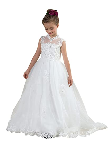 KekeHouse Flower Girls Dress for Wedding Ball Gown Floor Length Princess Dresses for Girls Tulle Prom
