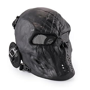 KINGEE® Oreja Protectora Completa De Cráneo Facial, Negro Clásico, Máscara De Airsoft,