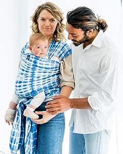 HUG A BUB: Baby Carrier Sling wrap - 100% Organic Cotton Lightweight - Watercolour Blue