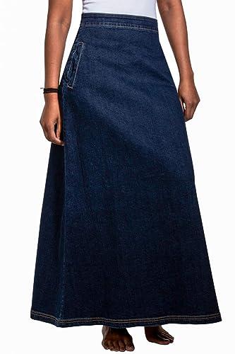 a58c31e82 Wash Clothing Company Lottie Falda Vaquera Larga - Azul Oscuro Falda ...