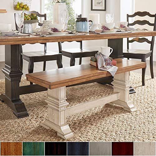 o-Tone Trestle Leg Wood Dining Bench by Classic Sage Antique, Oak Finish, Distressed ()